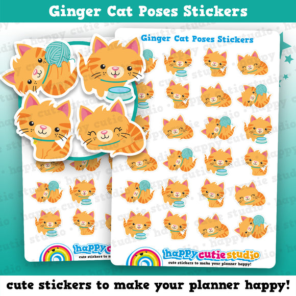 24 Cute Ginger Cat Poses/Kitty/Pet Planner Stickers