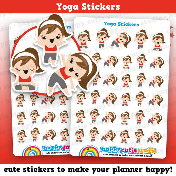 35 Cute Yoga Girl Planner Stickers