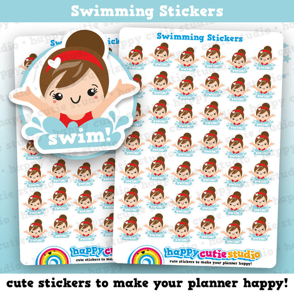 42 Cute Swim/Swimming Girl Planner Stickers
