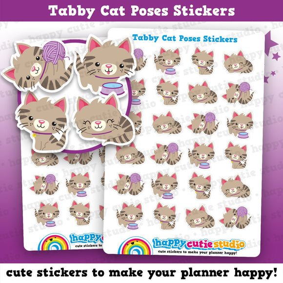 24 Cute Tabby Cat Poses/Kitty/Pet Planner Stickers