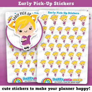 38 Cute Early Pick-Up/Early Dismissal Girl Planner Stickers