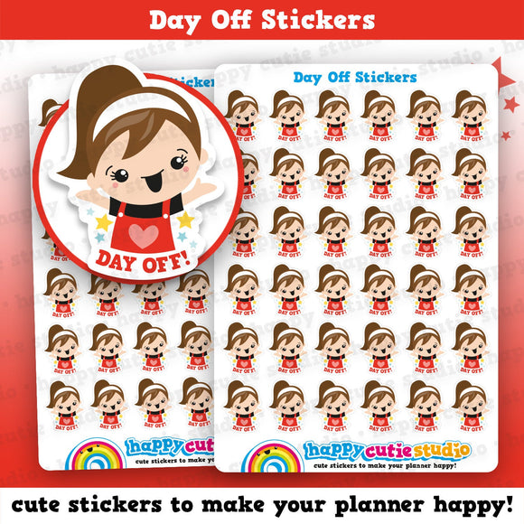 36 Cute Day Off Girl Planner Stickers