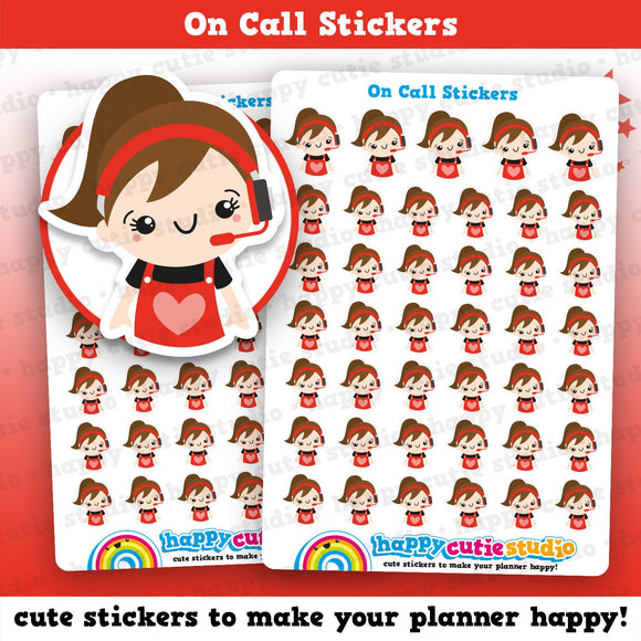 41 Cute On Call/Call Centre/Headset Girl Planner Stickers