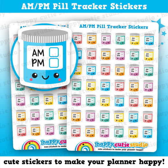 42 Cute AM/PM Medicine Tracker/Medicine/Pills/Reminder Planner Stickers