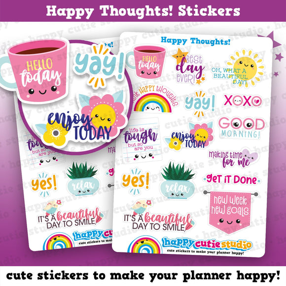 15 Cute Motivational/Inspirational/Happy Thoughts  Planner Stickers