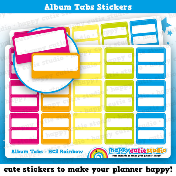 15 Rainbow Page Tabs for HCS Sticker Album, Planner Stickers