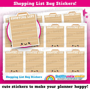 8 Cute Full Box Shopping List/Bag/Brown Bag/Groceries Planner Stickers