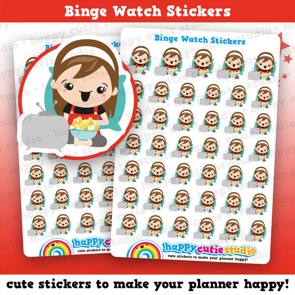 41 Cute Binge Watch/Box Set/TV/Movie Girl Planner Stickers