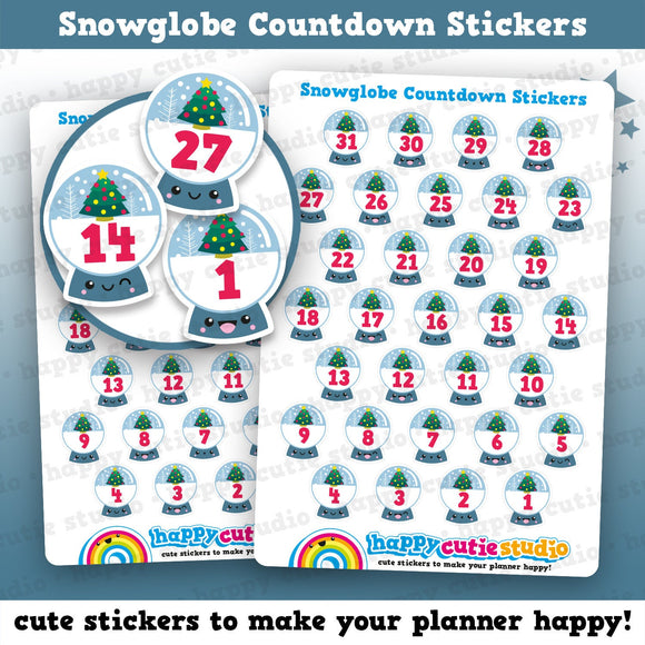 31 Cute Christmas Snowglobe Countdown/Date Cover Planner Stickers