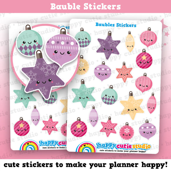 18 Cute Christmas Bauble/Ball Ball/Festive/Holidays Planner Stickers
