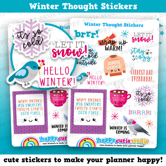 16 Cute Winter/Cold/Cute Thoughts  Planner Stickers