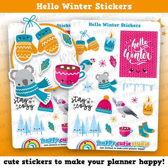 18 Cute Hello Winter/Cold Planner Stickers