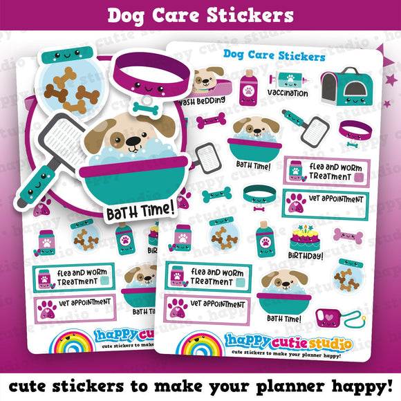 24 Cute Dog Care/Groomers/Vet/Flea Planner Stickers