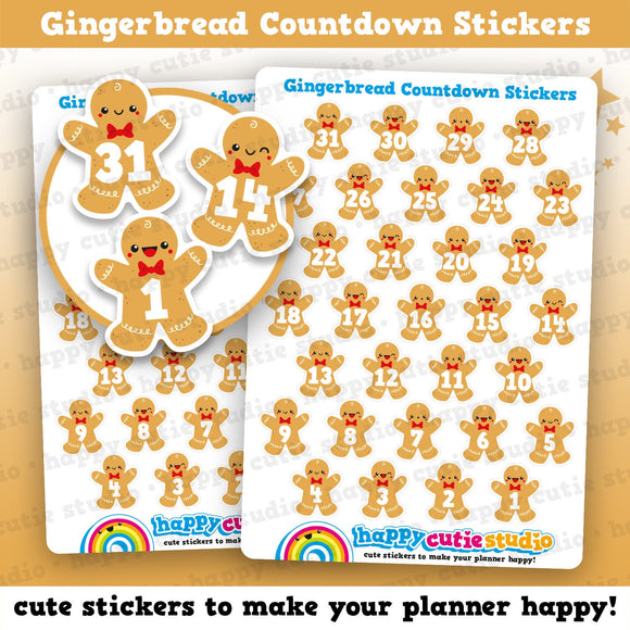 31 Cute Christmas Gingerbread Countdown/Date Cover Planner Stickers