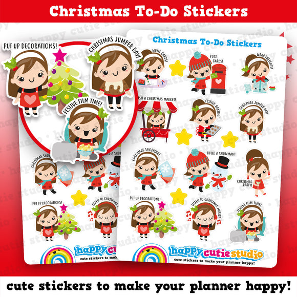 12 Cute Christmas To Do Girl Planner Stickers