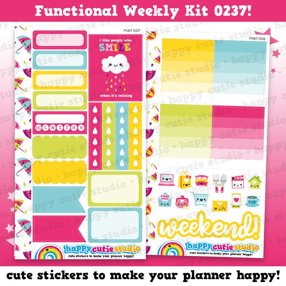Functional Personal Size Weekly Kit 0237 Planner Stickers/Kawaii/Cute Stickers