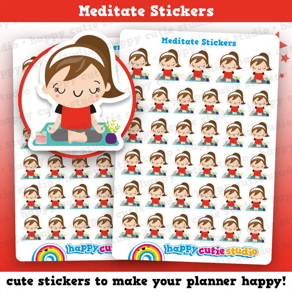 40 Cute Meditate/Mindfulness Girl Planner Stickers