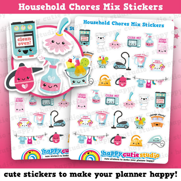 30 Cute Household Chores Mix Planner Stickers