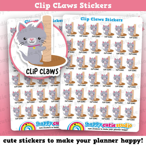 36 Cute Clip Claws Cat Care/Vet Planner Stickers