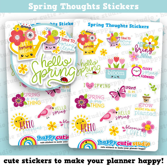 16 Cute Spring/Cute Thoughts Planner Stickers
