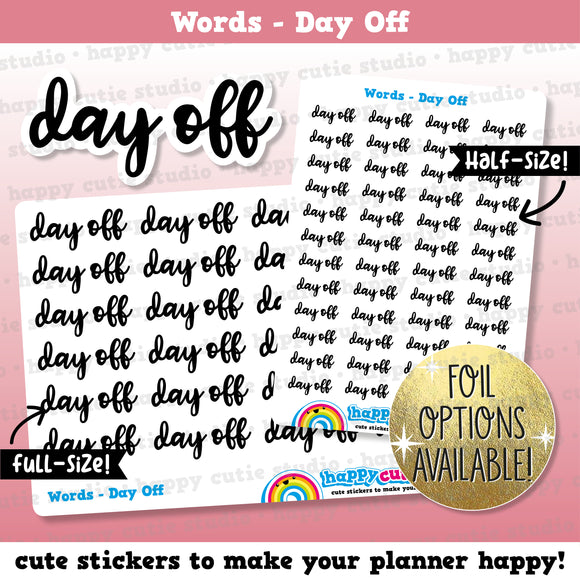 Day Off Words/Banners/Foil Planner Stickers