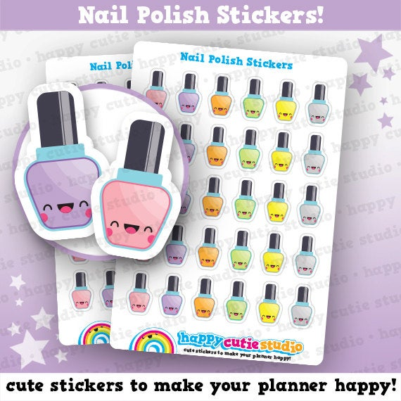 30 Cute Nail Polish/Varnish/Manicure/Pedicure Planner Stickers