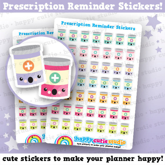 49 Cute Prescription/Medicine/Pills/Reminder Planner Stickers