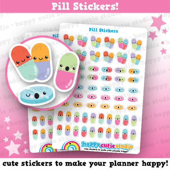 62 Cute Pill/Medicine/Tablet Planner Stickers
