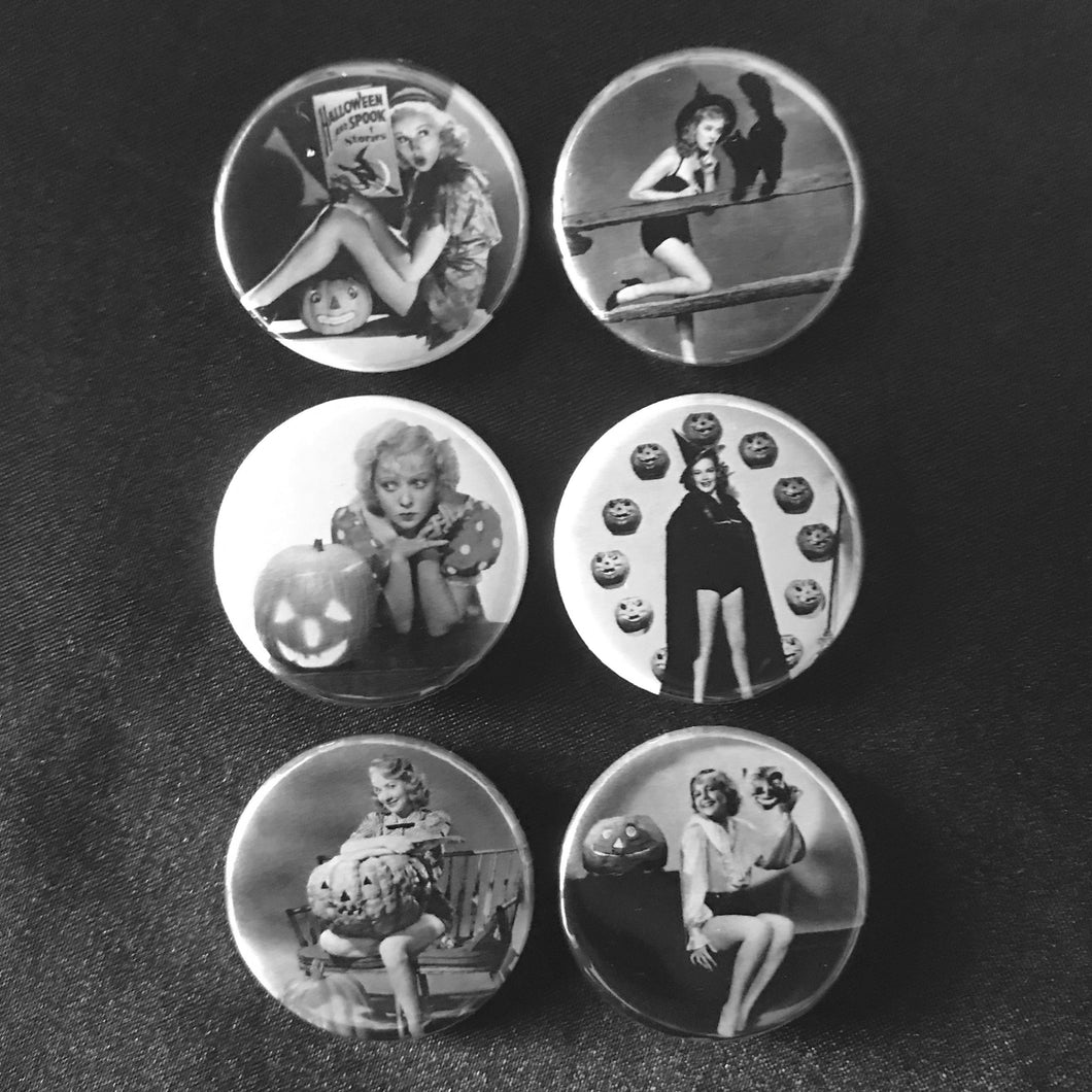 Classic Halloween Pin-Up Button Set