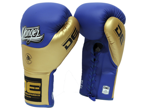 Danger Blue / Gold Lace-Up Boxing Gloves