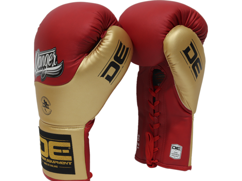 Danger Red / Gold Lace-Up Boxing Gloves