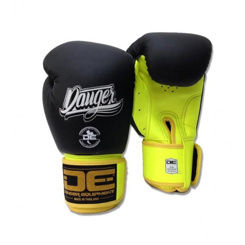 Boxing Gloves - Danger Black / Neon Yellow With Neon Yellow Cuff Classic Edition Boxing Gloves