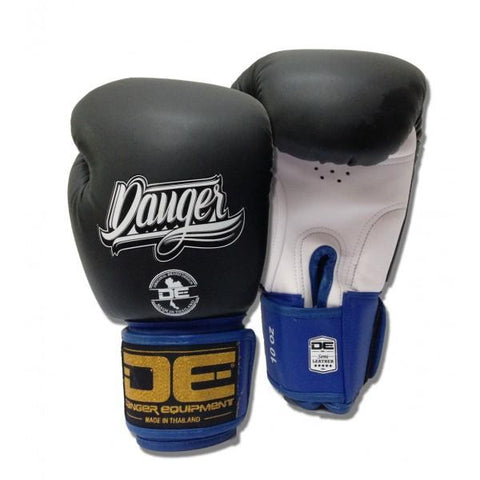 Boxing Gloves - Danger Black / White With Blue Cuff Classic Edition Boxing Gloves