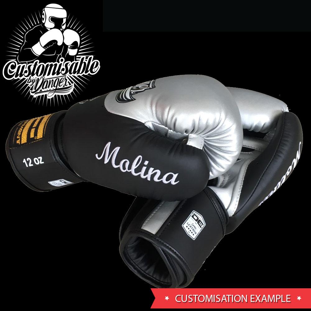 Boxing Gloves - Danger Black / White With Red Cuff Classic Edition Boxing Gloves