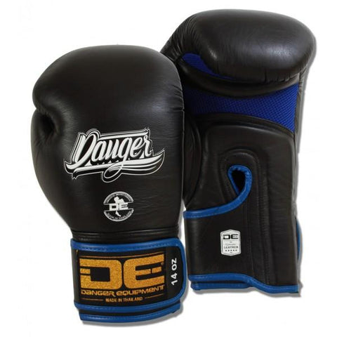 Boxing Gloves - Danger Black With Blue Mesh And Piping Contact Pro Edition Boxing Gloves