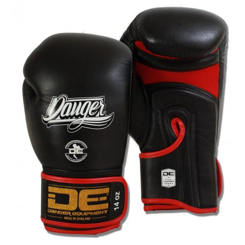 Boxing Gloves - Danger Black With Red Mesh And Piping Contact Pro Edition Boxing Gloves
