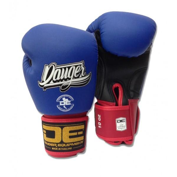 Boxing Gloves - Danger Blue / Black With Red Cuff Classic Edition Boxing Gloves