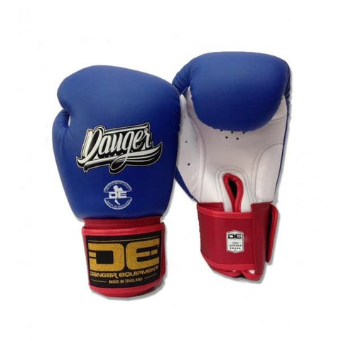 Boxing Gloves - Danger Blue / White With Red Cuff Classic Edition Boxing Gloves
