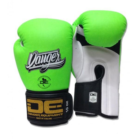 Boxing Gloves - Danger Neon Green With White Palm Contact Pro Edition Boxing Gloves