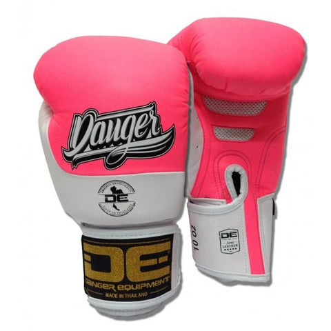 Boxing Gloves - Danger Neon Pink / White Evolution Boxing Gloves