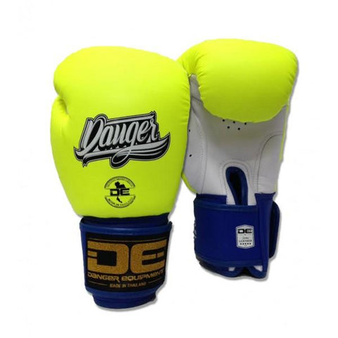 Boxing Gloves - Danger Neon Yellow / White With Blue Cuff Classic Edition Boxing Gloves