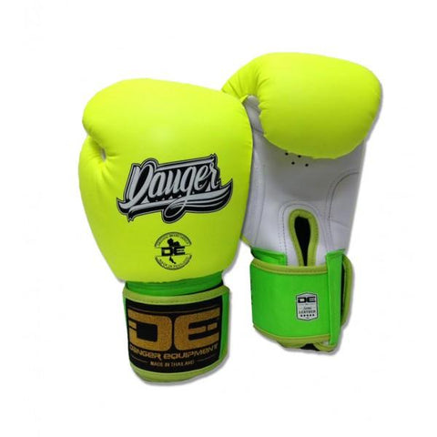 Boxing Gloves - Danger Neon Yellow / White With Green Cuff Classic Edition Kids Boxing Gloves