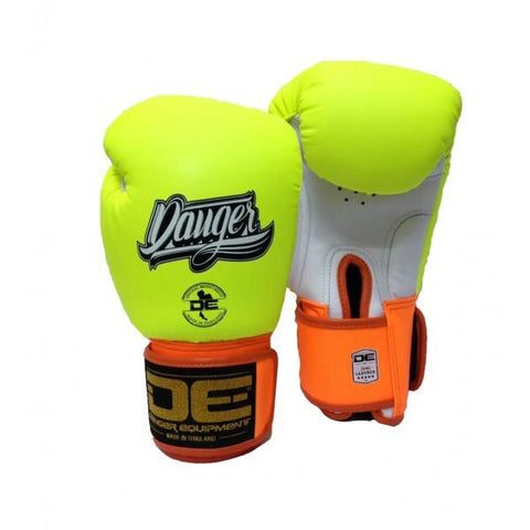 Boxing Gloves - Danger Neon Yellow / White With Orange Cuff Classic Edition Boxing Gloves
