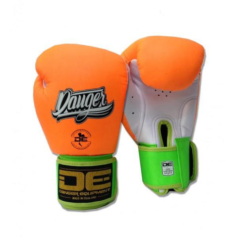 Boxing Gloves - Danger Orange / White With Green Cuff Classic Edition Kids Boxing Gloves