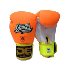 Boxing Gloves - Danger Orange / White With Yellow Cuff Classic Edition Kids Boxing Gloves