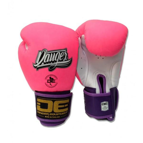 Boxing Gloves - Danger Pink / White With Black Cuff And Purple Piping Classic Edition Boxing Gloves