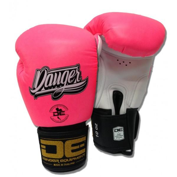 Boxing Gloves - Danger Pink / White With Black Cuff Classic Edition Kids Boxing Gloves