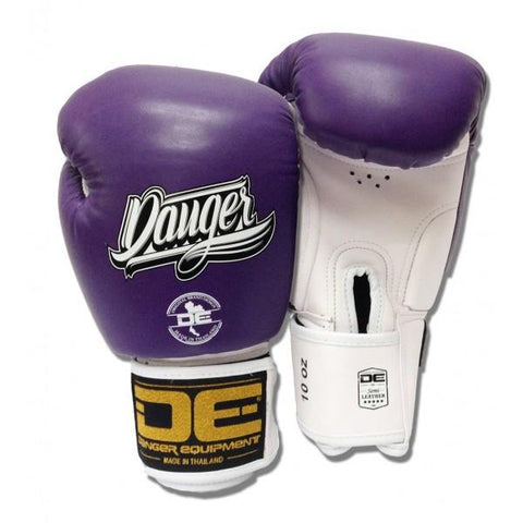 Boxing Gloves - Danger Purple / White With White Cuff Classic Edition Boxing Gloves