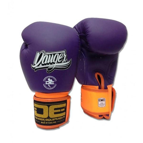 Boxing Gloves - Danger Purple With Orange Cuff Classic Edition Boxing Gloves