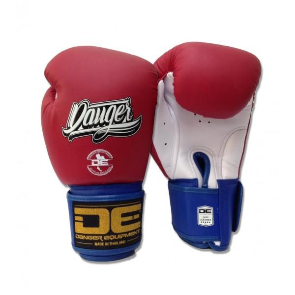 Boxing Gloves - Danger Red / White With Blue Cuff Classic Edition Boxing Gloves